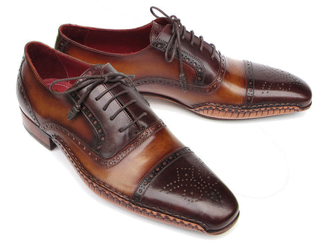 Shoes - Paul Parkman Men's Captoe Oxfords Brown Hand Painted Shoes (ID#5032-BRW)
