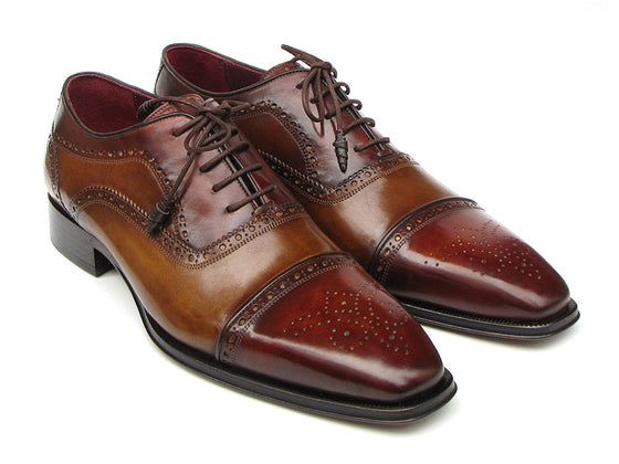 Shoes - Paul Parkman Men's Captoe Oxfords - Camel / Red Hand-Painted Leather Upper And Leather Sole (ID#024-CML-BRD)
