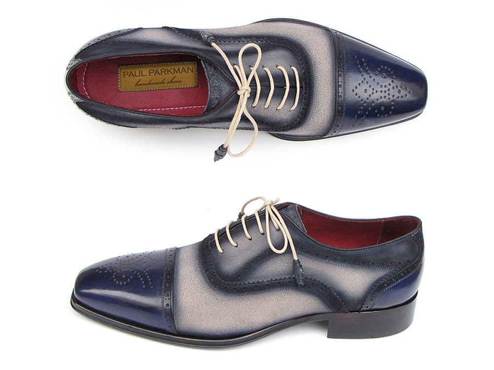 c6de572a22128 Paul Parkman Navy and Beige Captoe Leather and Suede Oxfords - TieThis  Neckwear and Accessories and
