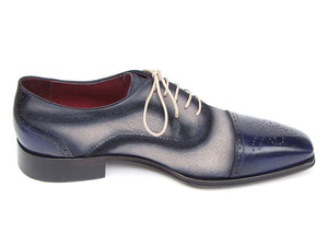 Paul Parkman Navy and Beige Captoe Leather and Suede Oxfords - TieThis Neckwear and Accessories and TieThis.com