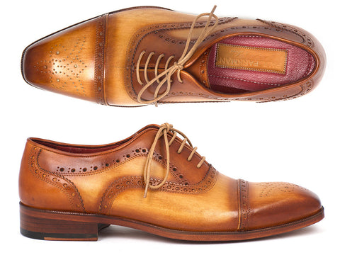 Shoes - Paul Parkman Men's Captoe Oxfords Tan Color (ID#024-TAN)