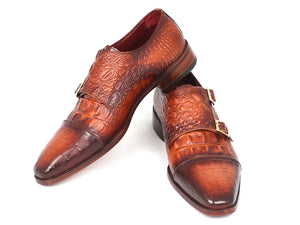 Brown Crocodile Embossed Calfskin Double Monkstrap - TieThis® Neckwear and Accessories