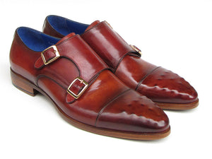 Paul Parkman Burgundy Leather Double Monkstrap - TieThis® Neckwear and Accessories