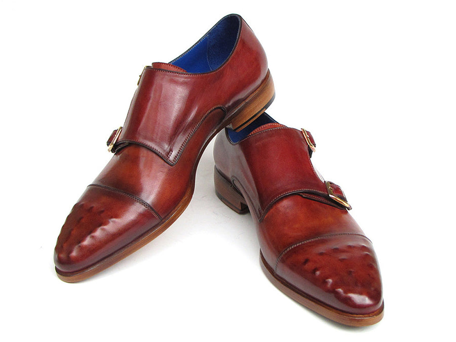 Paul Parkman Burgundy Leather Double Monkstrap - TieThis Neckwear and Accessories and TieThis.com