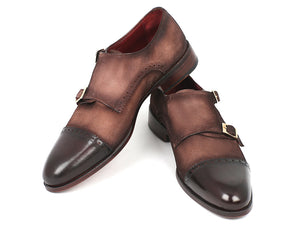 Paul Parkman Double Monkstrap Captoe Brown / Beige Suede - TieThis Neckwear and Accessories and TieThis.com