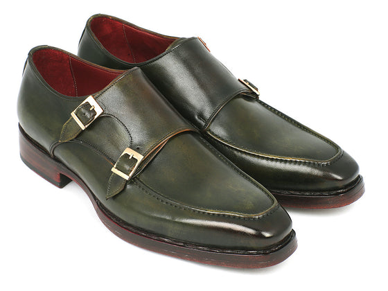 Shoes - Paul Parkman Men's Double Monkstrap Goodyear Welted Shoes Green (ID#061-GREEN)