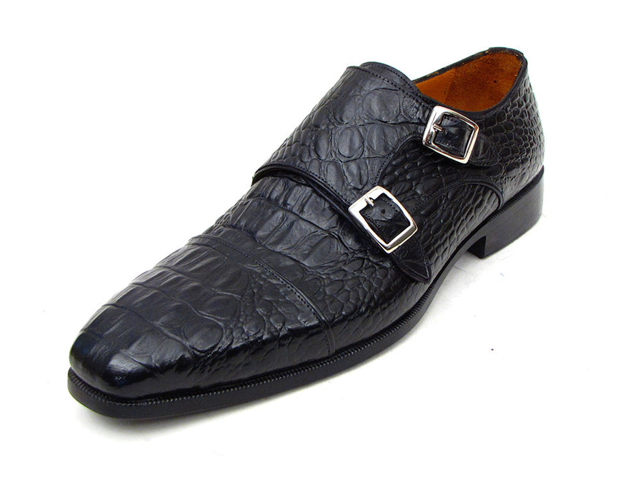Paul Parkman Black Crocodile Embossed Calfskin Double Monkstraps - TieThis Neckwear and Accessories and TieThis.com