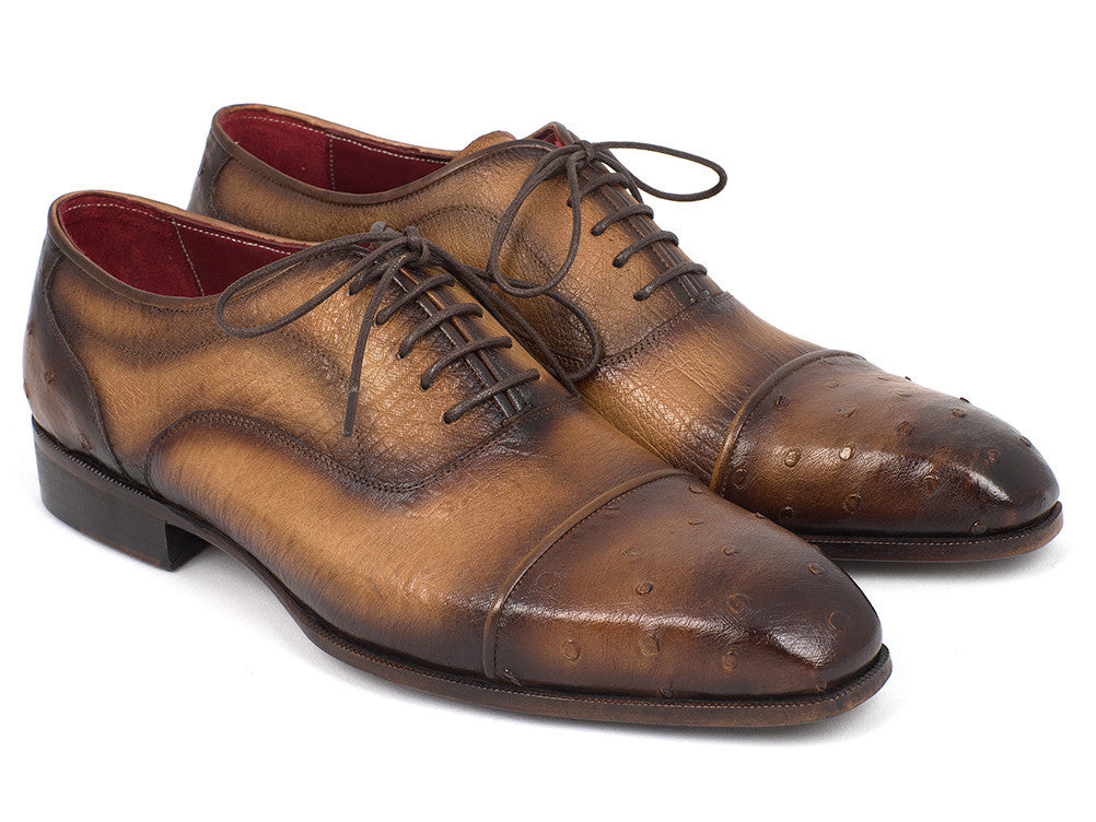 Paul Parkman Ostrich Captoe Oxfords in Camel - TieThis Neckwear and Accessories and TieThis.com