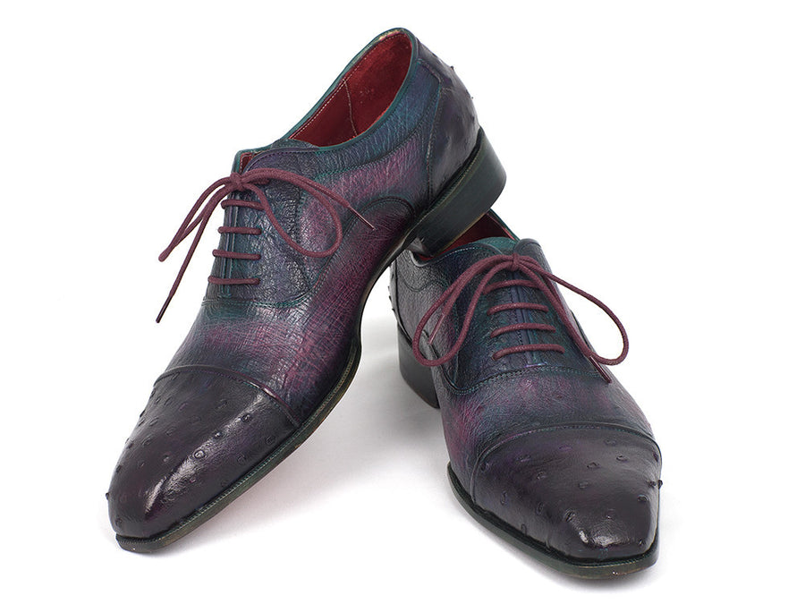 Paul Parkman Purple Ostrich Captoe Oxfords - TieThis Neckwear and Accessories and TieThis.com