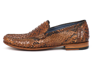 Brown & Tobacco Python Moccasin Loafers - TieThis® Neckwear and Accessories