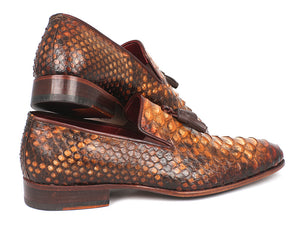 Paul Parkman Python Tassel Loafers in Camel - TieThis Neckwear and Accessories and TieThis.com