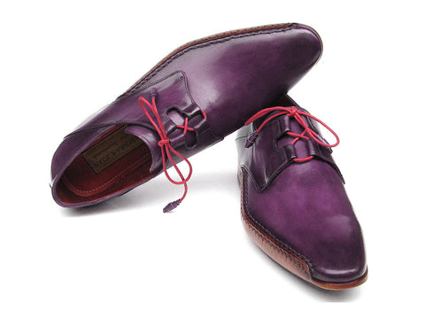 Shoes - Paul Parkman Men's Ghillie Lacing Side Hand Sewn Oxfords Purple Dress Shoes (ID#022-PURP)