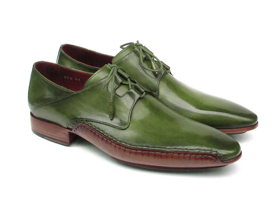 Shoes - Paul Parkman Men's Ghillie Lacing Side Handsewn Dress Oxford Shoes (ID#022-GREEN)