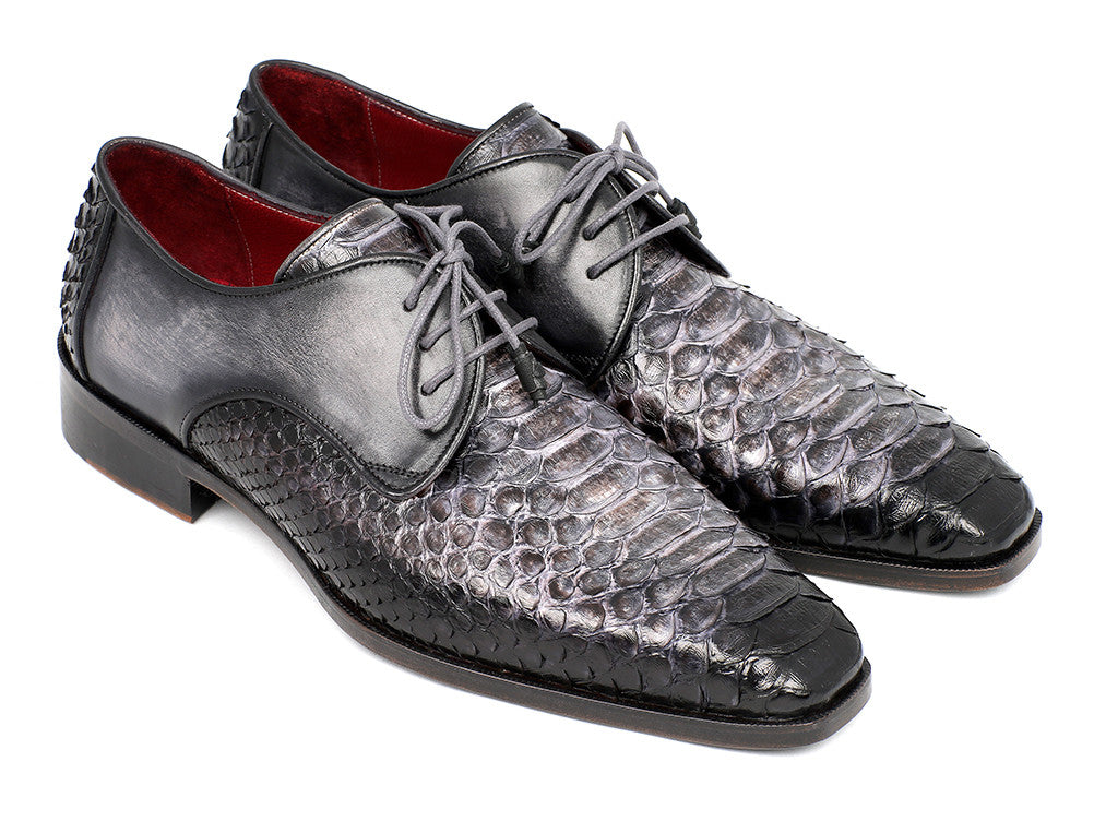 2bcac1a40d2 Paul Parkman Gray and Black Python   Calfskin Derby - TieThis Neckwear and  Accessories and TieThis