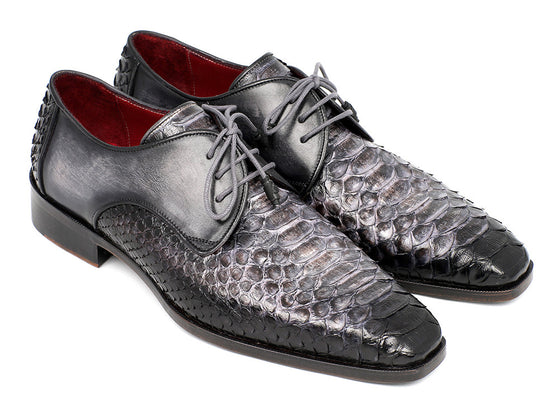 Shoes - Paul Parkman Men's Gray And Black Genuine Python & Calfskin Derby Shoes (ID#PT59GRY)