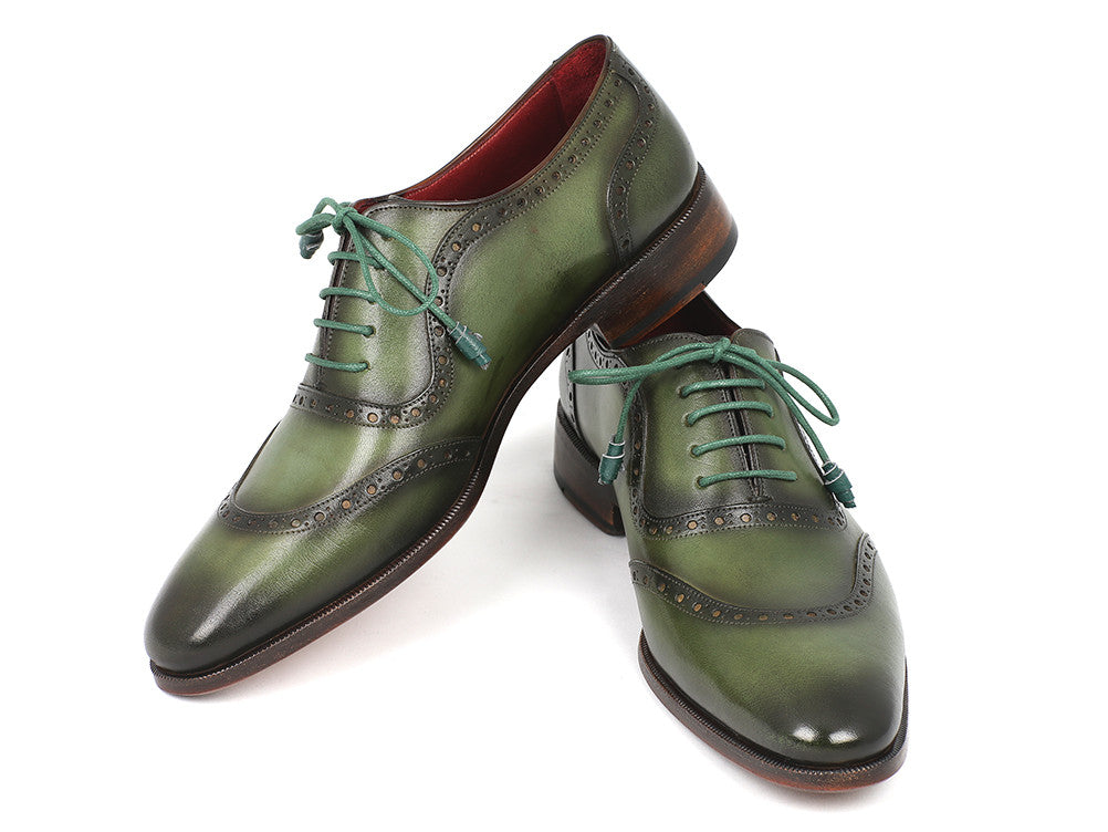 Shoes - Paul Parkman Men's Green Calfskin Oxfords (ID#K78-GRN)