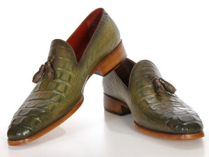 Paul Parkman Green Embossed Tassel Loafer - TieThis Neckwear and Accessories and TieThis.com