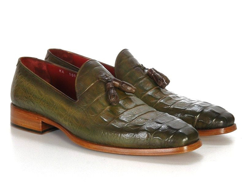 e32e5154b39 Paul Parkman Green Embossed Tassel Loafer - TieThis Neckwear and  Accessories and TieThis.com