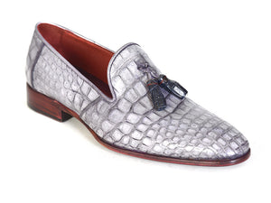 Paul Parkman Gray  Crocodile Tassel Loafers - TieThis Neckwear and Accessories and TieThis.com