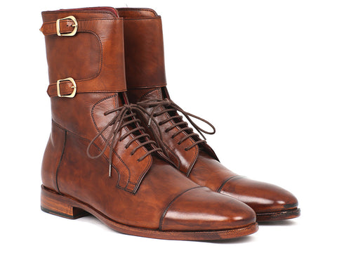 Shoes - Paul Parkman Men's High Boots Brown Calfskin (ID#F554-BRW)