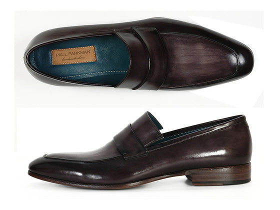 Shoes - Paul Parkman Men's Loafer Black & Gray Hand-Painted Leather Upper With Leather Sole (ID#093-GRAY)