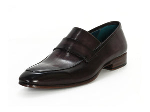 Paul Parkman Black & Gray Hand-Painted Leather Loafer - TieThis Neckwear and Accessories and TieThis.com