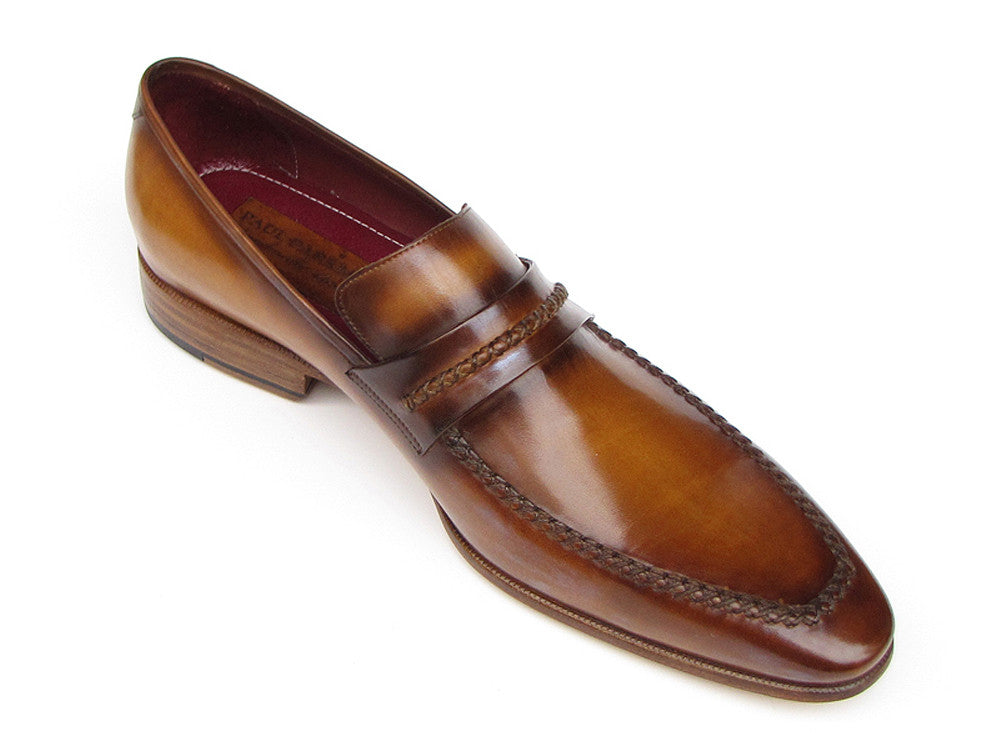 Shoes - Paul Parkman Men's Loafer Brown Leather Shoes (ID#068-CML)