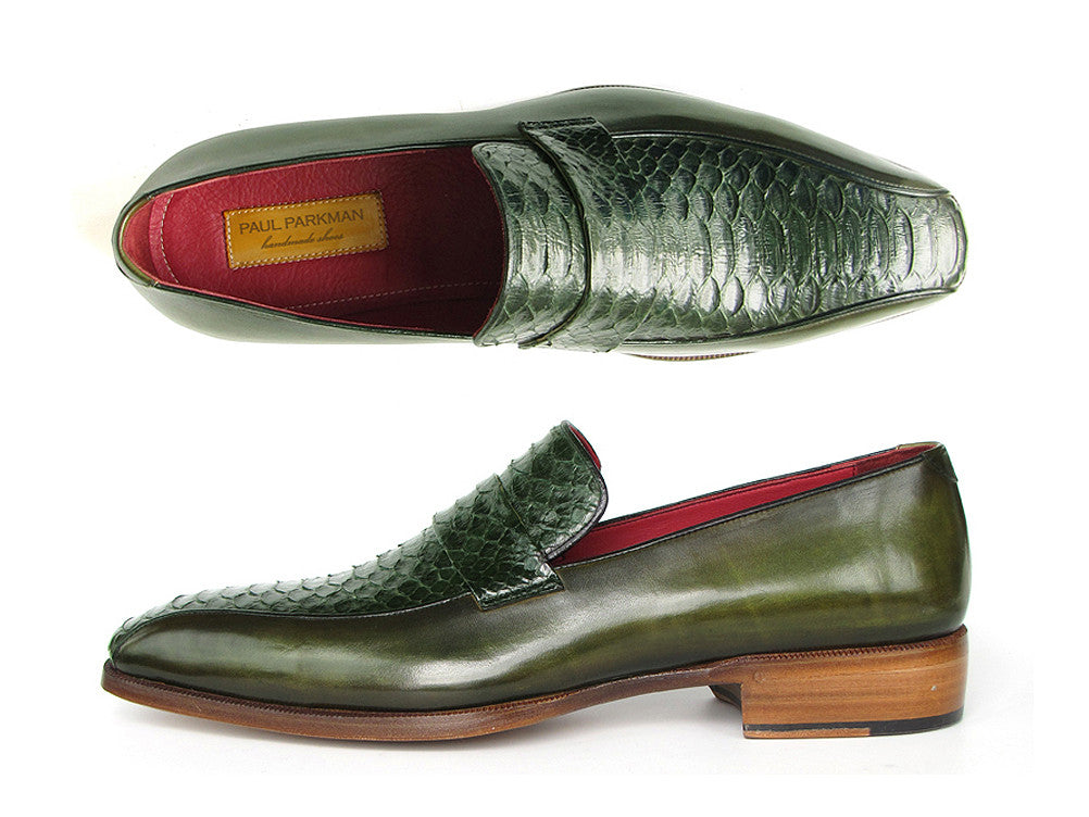 Shoes - Paul Parkman Men's Loafer Green Genuine Python With Green Handpainted Calfskin (ID#23K38)