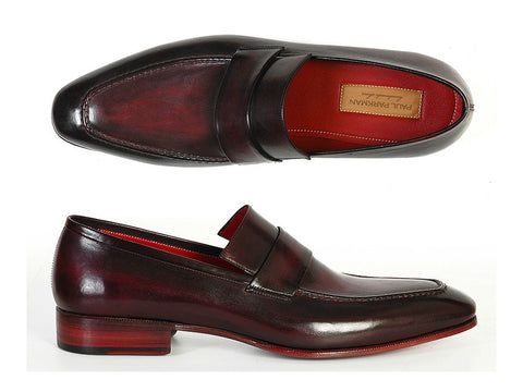 Shoes - Paul Parkman Men's Loafer Purple & Black Hand-Painted Leather Upper With Leather Sole (ID#093-PURP-BLK)