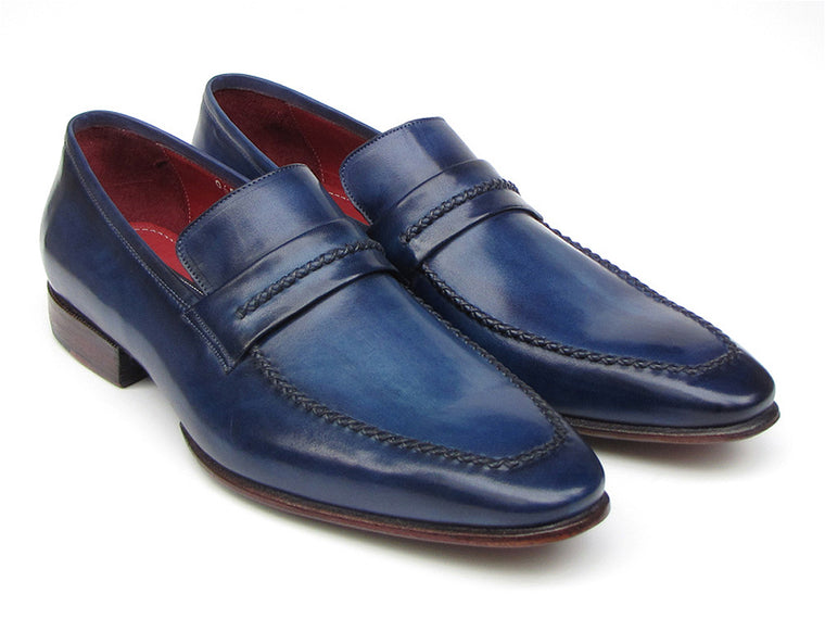 Shoes - Paul Parkman Men's Loafer Shoes Navy Leather Upper And Leather Sole (ID#068-BLU)