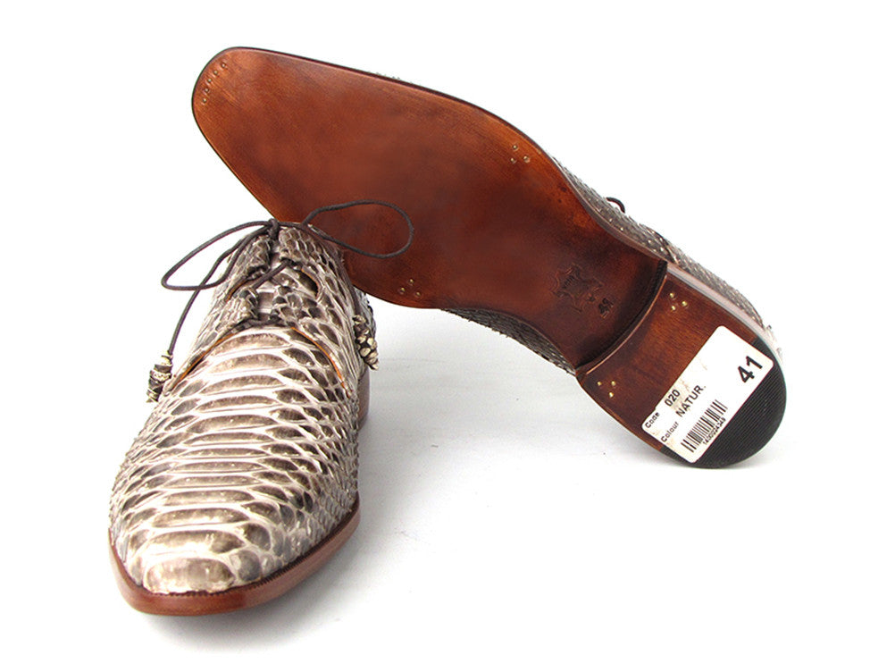 Shoes - Paul Parkman Men's Natural Genuine Python (snakeskin) Oxford Lacing Dress Shoes (ID#022SNK)