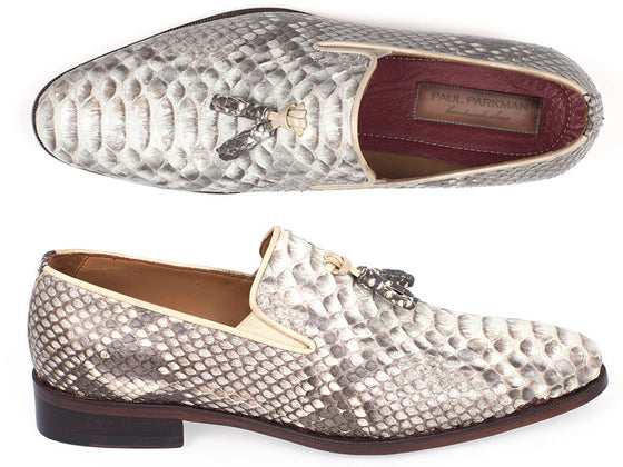 Shoes - Paul Parkman Men's Natural Genuine Python Tassel Loafers (ID#26NAT82)