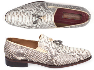 Paul Parkman Natural Python Tassel Loafer - TieThis Neckwear and Accessories and TieThis.com