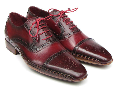 Shoes - Paul Parkman Men's Side Handsewn Captoe Oxfords - Red / Bordeaux Leather Upper And Leather Sole (ID#5032-BRD)
