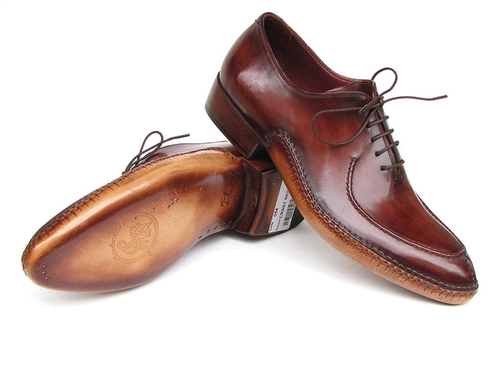 Shoes - Paul Parkman Men's Side Handsewn Split-toe Burgundy Oxfords (ID#054-BUR)