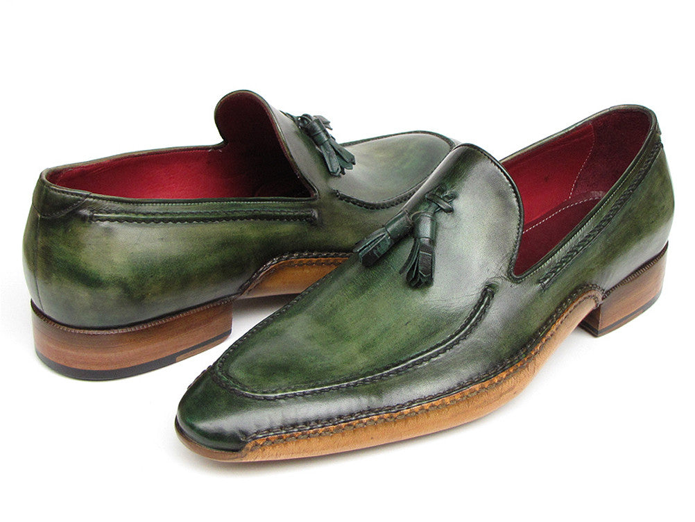 Shoes - Paul Parkman Men's Side Handsewn Tassel Loafer Green Shoes (ID#082-GREEN)