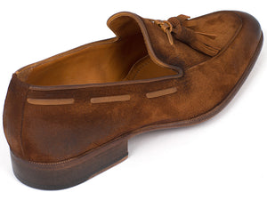 Paul Parkman Brown Antique Suede Tassel Loafer - TieThis Neckwear and Accessories and TieThis.com