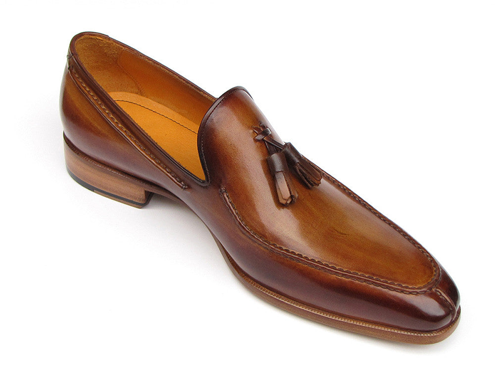 Shoes - Paul Parkman Men's Tassel Loafer Camel & Brown Hand-Painted (ID#083-CML)