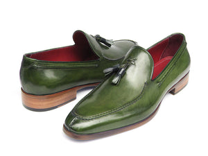 Shoes - Paul Parkman Men's Tassel Loafer Green Hand Painted Leather (ID#083-GREEN)