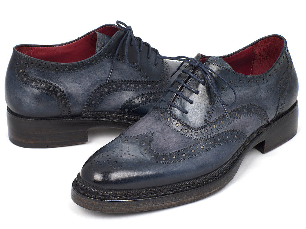 23d68492a98c Paul Parkman Triple Leather Sole Wingtip Brogues Blue Oxfords - TieThis  Neckwear and Accessories and TieThis