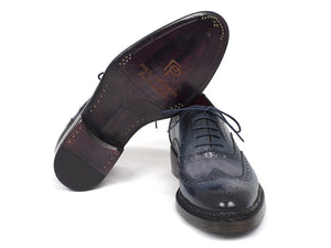 Paul Parkman Triple Leather Sole Wingtip Brogues Blue Oxfords - TieThis Neckwear and Accessories and TieThis.com