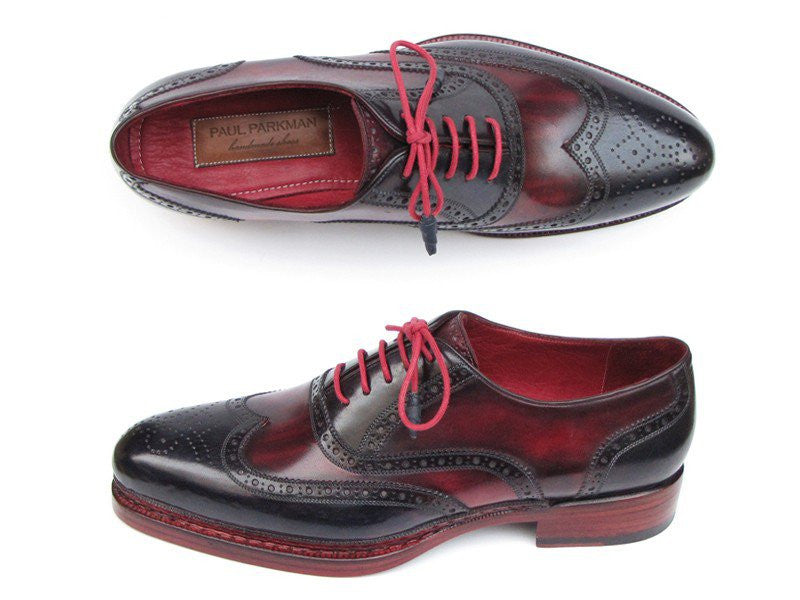 Shoes - Paul Parkman Men's Triple Leather Sole Wingtip Brogues Navy & Red Oxfords(ID#027-TRP-NVYBRD)