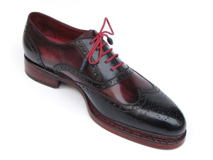 Triple Leather Sole Wingtip Brogues Navy & Red Oxfords - TieThis® Neckwear and Accessories