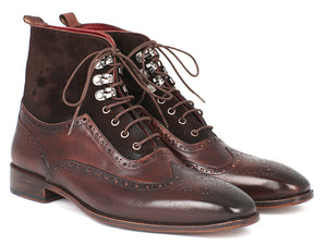 Wingtip Boots Brown Suede & Calfskin - Tie This Menswear and Accessories