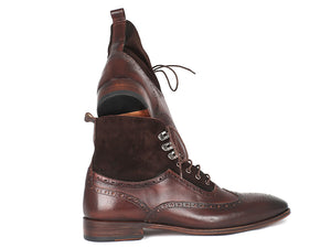 Paul Parkman Wingtip Boots Brown Suede & Calfskin - TieThis Neckwear and Accessories and TieThis.com
