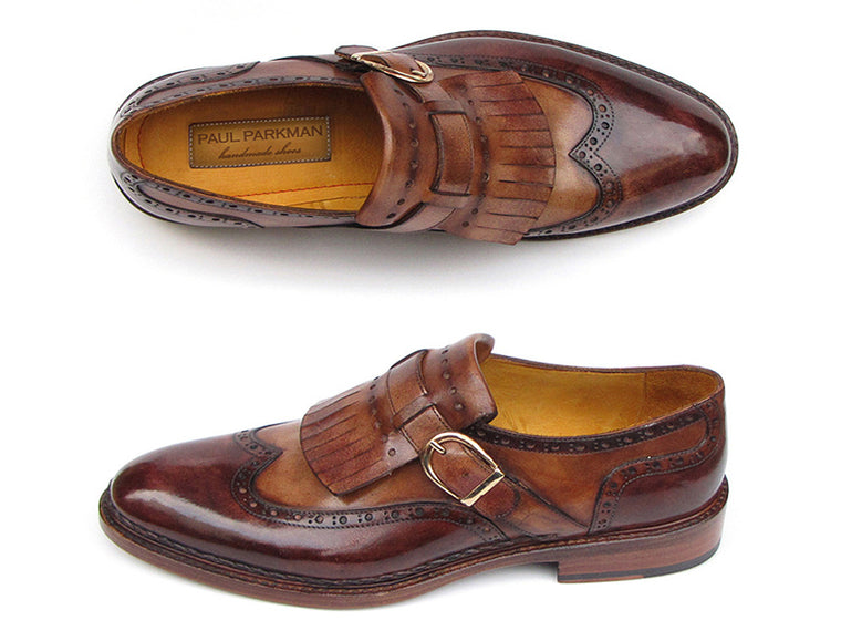 Shoes - Paul Parkman Men's Wingtip Monkstrap Brogues Brown Hand-Painted Leather Upper With Double Leather Sole (ID#060-BRW)