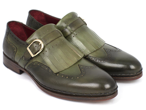 Shoes - Paul Parkman Men's Wingtip Monkstrap Brogues Green Hand-Painted Leather Upper With Double Leather Sole (ID#060-GREEN)