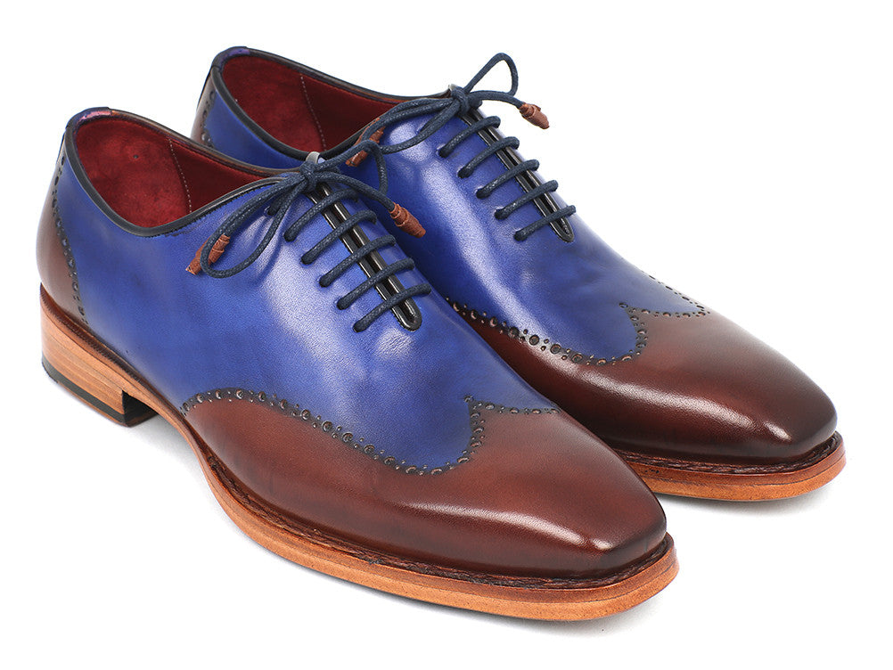 Shoes - Paul Parkman Men's Wingtip Oxford Goodyear Welted Blue & Brown (ID#81BLU57)