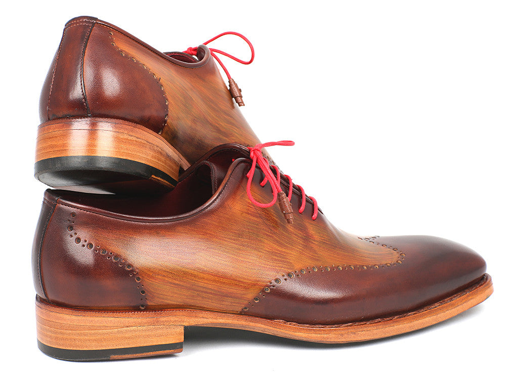 Shoes - Paul Parkman Men's Wingtip Oxford Goodyear Welted Brown & Camel (ID#81BRW74)