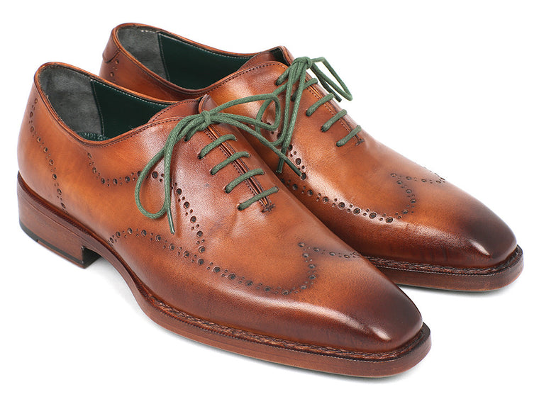Shoes - Paul Parkman Men's Wingtip Oxford Goodyear Welted Camel Brown (ID#87CML66)